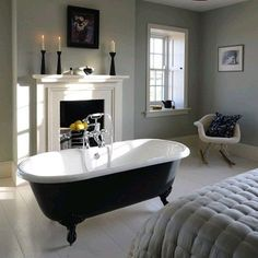 The Millbrook Double Ended Cast Iron Bath with Bathroom Ideas Roll Top Bath - Best Home & Party Decoration Ideas Bedroom With Bathtub, Cast Iron Bath, Roll Top Bath, Luxury Bath, Bathroom Inspiration, Bathroom Ideas, Loft Bathroom, Family Bathroom, Bathroom Towels