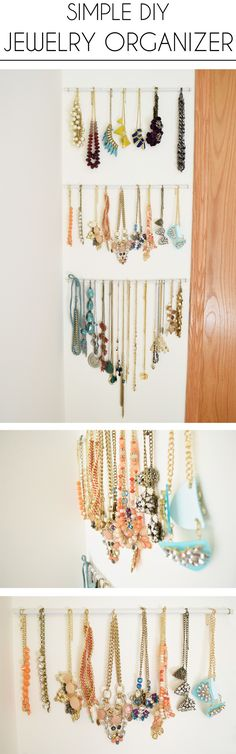 Painted dowels + gold hooks create this super simple jewelry organizer.