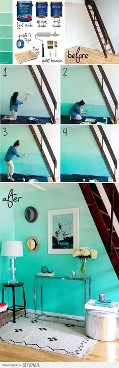 Ombre Wall - So keen to try this in my new room! // Make your home stylish from the floor to ceiling with a freshly painted feeling! Style At Home, Ombre Painted Walls, Ombre Walls, Blue Walls, Sweet Home, Diy Casa, My New Room, Home Fashion, My Dream Home