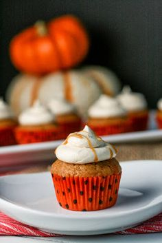 Brown Butter Pumpkin Cupcakes with Salted Caramel Frosting #recipe #fall