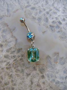 Aquamarine Gem Belly Button Ring