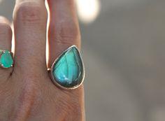 Rainbow Labradorite Elfin Ring