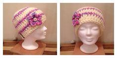 Mütze in Creme & lila-rosa meliert mit Blümchen Creme, Crochet Hats, Fashion, Lilac, Moda, La Mode, Fasion, Fashion Models, Trendy Fashion