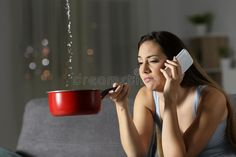Frustrated Girl Calling Insurance About Water Leaks Stock Photo - Image of claim, lady: 117597246 Retail Logo, Couch, Stock Photos, Lady, Water, Image, Gripe Water, Settee, Sofa