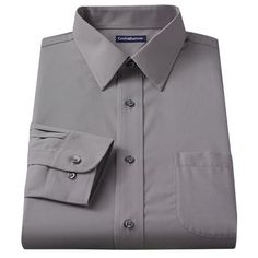 Croft and Barrow Fitted Solid Broadcloth Point-Collar Dress Shirt - Men