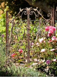 This is just a stunning old gate! In order for people to enter the venue guests must make their way in by entering this old gate - Sun and Garden Garden Gates And Fencing, Garden Doors, Garden Paths, Garden Art, Backyard Gates, Old Gates, Wrought Iron Gates, Gate Design, My Secret Garden
