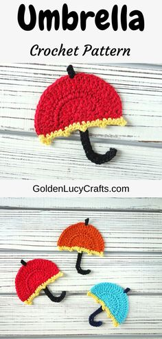 Crochet Umbrella applique, free crochet pattern. Crochet motif, embellishment for kids items, cute applique, easy project Crochet Bear, Free Crochet, Crochet Toys, Crochet Birds, Knitted Dolls, Crochet Animals, Crochet Crafts, Easy Crochet, Double Crochet