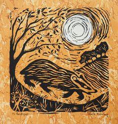Woodland Art, Linoprint, Gcse Art, Linocut Prints, Badger, Habitats, Printmaking, Design Inspiration, Carving