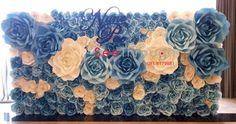 blue wedding paper flowers wall