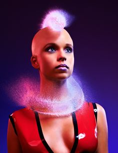 Beautifully bald models photographed with suspended-liquid hair