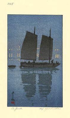 A Junk, Night (from Woodblock  by Hiroshi Yoshida, 1939