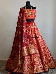 Banarasee/Banarasi Handwoven Semi Silk Unstitched Lehenga & Blouse Fabric With Dupatta-Red