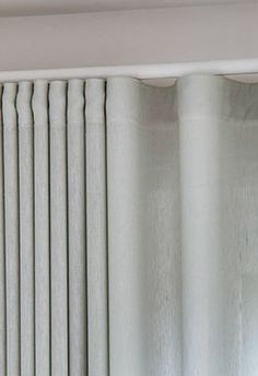 Wave curtains Grey Linen Curtains, Wave Curtains, Curtains With Blinds, Curtain Styles, Curtain Designs, Sliding Door Curtains, Sliding Doors, Curtain Headings, Pelmets