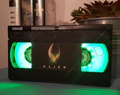 Retro VHS Alien Scifi Night Light Table Lamp, Horror Movie . Order any movie! Great personal gift. Man Cave. Office.