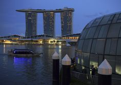 Marina Bay Sands Integrated Resorts, Singapore. The three twin towers host one of the most luxurious hotels in the world.