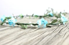 Boho Flower crown Wedding Flower Crown Aqua by myfashioncreations