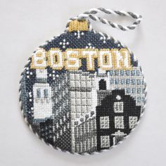 "Thanks for sharing this #fantastic #finished #kirkandbradley #boston #needlepoint #ornament @needlepointdotcom - well stitched Melissa! XxKB #ndlpt  City Bauble- Boston by Kirk  Bradley Style: KB1174 Size: 4"" round Mesh Count: 18"