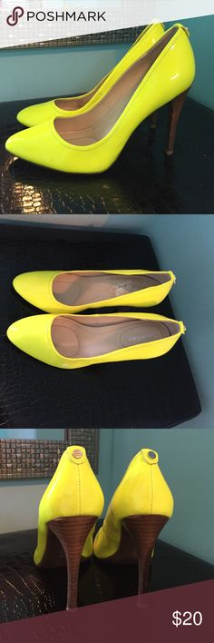 """Calvin Klein neon yellow pumps Calvin Klein neon yellow patent leather pumps. Size 7. Run tts. About a 4.5"""" heel. Worn once. VGUC, basically bc of the nature of patent leather to scratch in storage! Calvin Klein Shoes Heels"""