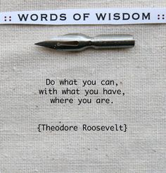 Do what you can, with what you have, where you are. -Theodore Roosevelt #quote