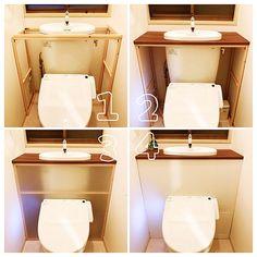 momocafeさんのBathroom ダイソー 100均 DIY セリア プラダン タンクレス 壁紙DIY リメイクシート タンクレストイレに関する部屋写真