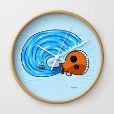 Aquarius Wall Clock#funny #artwork #drawing #art #thesbirù #comic #cartoon #puppet #society6 #society6art #artprint #mug #tshirt #duvet #pillow #shopart #children #joy #child #fun, #humor #happiness #childhood #smile #kid #illustration