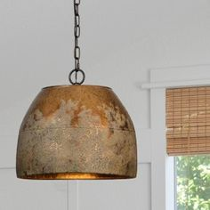 Weathered Metal Hanging Light by Antique Farmhouse Hanging Light Fixtures, Metal Hanging Lights, Hanging Lights Kitchen, Hanging Lights, Metal Pendant Light, Rustic Light Fixtures, Farmhouse Ceiling Light, Farmhouse Pendant Lighting, Pendant Light Fixtures