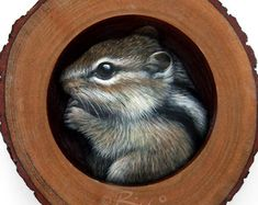 Cute Chipmunk in the Burrow   A Fantastic Piece of Art to Decorate your Home and a Unique Gift Idea for Nature Lovers by Roberto Rizzo