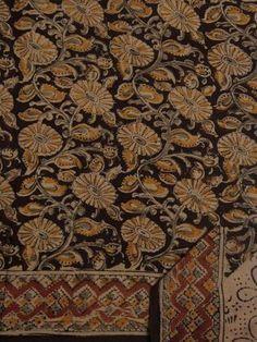 6b67854063 Buy Dark Maroon With Yellow Block Printed Kalamkari Saree Bengal Cotton  Sarees, Hand Painted Sarees
