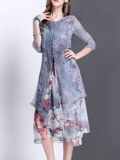 Crew Neck 3/4 Sleeve Vintage Silk Floral Midi Dress