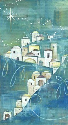 O Little Town of Bethlehem, how still we see thee lie. Blue Christmas, Christmas Images, Christmas Projects, Vintage Christmas, Christmas Holidays, Christmas Nativity, Christmas Ornaments, Arte Judaica, Art Carte