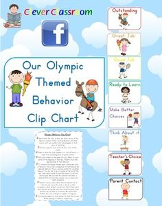 FREE - Olympic Themed Behavior Clip Chart Posters - PDF file20 page classroom behavior management system file.This file is also one resourc...