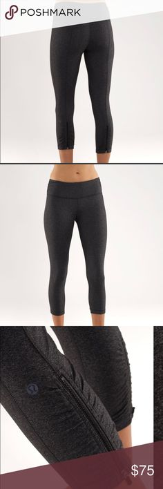 Lululemon cardio kick Crop RARE Size 6, these are very RARE and hard to find. They are a thicker material in a heather black (charcoal grey). Has zippers at the calf's that can be unzipped and mesh is exposed. Very gently used hardly any sings of wear. Very good quality material they don't make anything like this anymore ! lululemon athletica Pants
