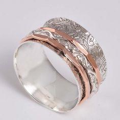 FINE JEWELLERY 925 STERLING SILVER DESIGNER SPINNER RING8.24g DJR7928 S-12 #Handmade #SpinnerRing
