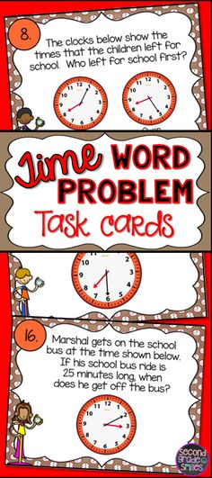 These time word problem task cards were a great way challenge my 2nd graders to think a bit deeper at the end of our math unit on telling telling time. Great for math center work, scoot games, or whole class use when displayed under a document camera.  They're second and third grade Common Core aligned.