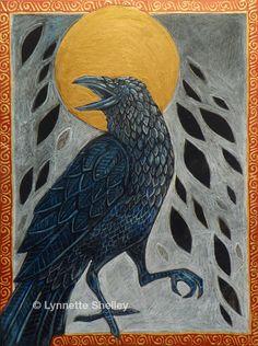 Raven, Crow, Celtic Bird Animal Halloween Art by Lynnette Shelley. $60.00, via Etsy.