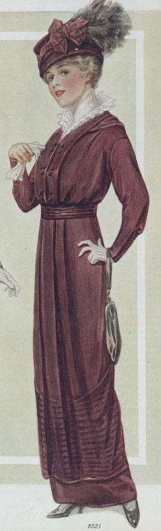 Elegant Plum Dress and Hat ~ The Ladies Home Journal, October 1914