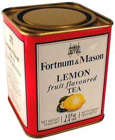 vintage Fortnum & Mason Lemon fruit flavoured Tea tea tin, with lemon and leaves on label, with inset lid, c. 1980s?, UK
