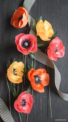Crepe Paper Anemone Flower - Lia Griffith