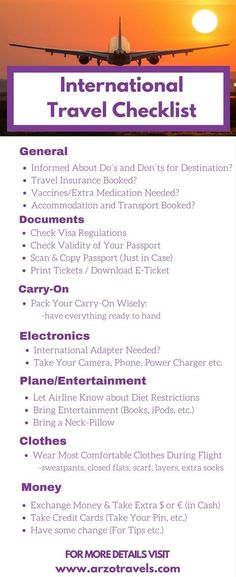 Checklist: Things to do before an international trip. 21 things you should do an… Checklist: Things to do before an international trip. 21 things you should do and consider before flying abroad: Travel advice – what to know before your vacation. New Travel, Travel Alone, Travel Packing, Budget Travel, Family Travel, Travel Trip, Packing Tips, Travel Goals, Travel Usa
