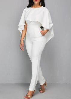 Open Back White Zipper Back Cloak Jumpsuit on sale only US$40.11 now, buy cheap Open Back White Zipper Back Cloak Jumpsuit at liligal.com