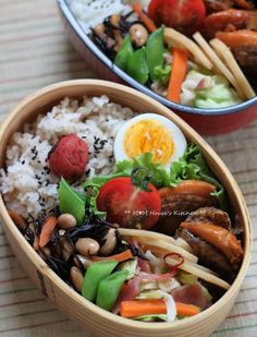 ** M☆M House's Kitchen ** Japanese Lunch Box, Japanese Dishes, Japanese Food, Bento Box Lunch, Asian, Food Hacks, Healthy Choices, Packing Lunch, Kawaii Bento