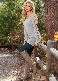 Light Grey Sleeve detail tunic sweater from VENUS. Sizes XS-XL!