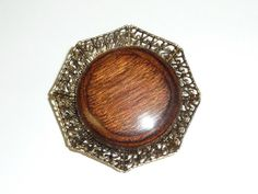 Vintage Natural Wood and Gold Tone Filigree by labaublesandbags, $18.00
