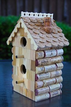 Wine cork birdhouse on pinterest cork art wine cork art for How to build a birdhouse out of wine corks