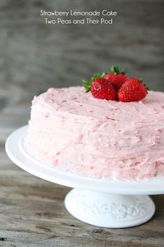 Strawberry Lemonade Cake Recipe on twopeasandtheirpod.com @Lisa Phillips-Barton Choe California Milk #30daysofCAdairy