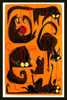 Animal Drawings Steph's Brain Farts To-Go! — Black Cats - Signed Artist Print (Various Sizes Available) - Printed in archival inks on fine art velvet paper for a rich, painterly feel. Comes to you signed by me and ready for framing! Default setting is. Chat Oriental, Desenhos Tim Burton, Black Cat Art, Black Cats, Black Cat Drawing, Grand Chat, Black Cat Appreciation Day, Desenho Tattoo, Print Artist
