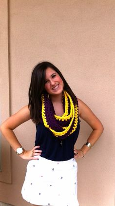 Purple and gold infinity scarf. LSU inspired by Lisaspearls, $35.00 LSU LSU LSU LSU LSU