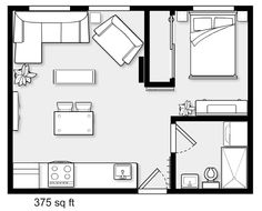 apartment floor plans Small apartment with one bedroom, Small Apartment Plans, Small Apartment Layout, Studio Apartment Floor Plans, Studio Floor Plans, Studio Apartment Layout, One Bedroom Apartment, Apartment Design, House Floor Plans, Tiny House Cabin