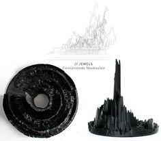 "3D visualization of Einstuerzende Neubauten's album ""Jewels"", printed in plastic with a MakerBot."