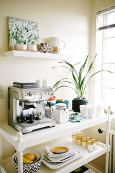 How to Create a Stylish Coffee & Tea Station or use as breakfast station Coffee Area, Coffee Nook, Coffee Bar Home, Home Coffee Stations, Coffee Center, House Coffee, Coffee Coffee, Coffee Beans, Coffee Flour